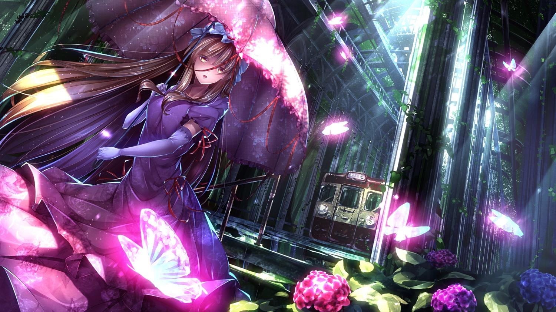 aliasing butterfly dress elbow_gloves flowers gloves long_hair ryosios touhou train umbrella yakumo_yukari
