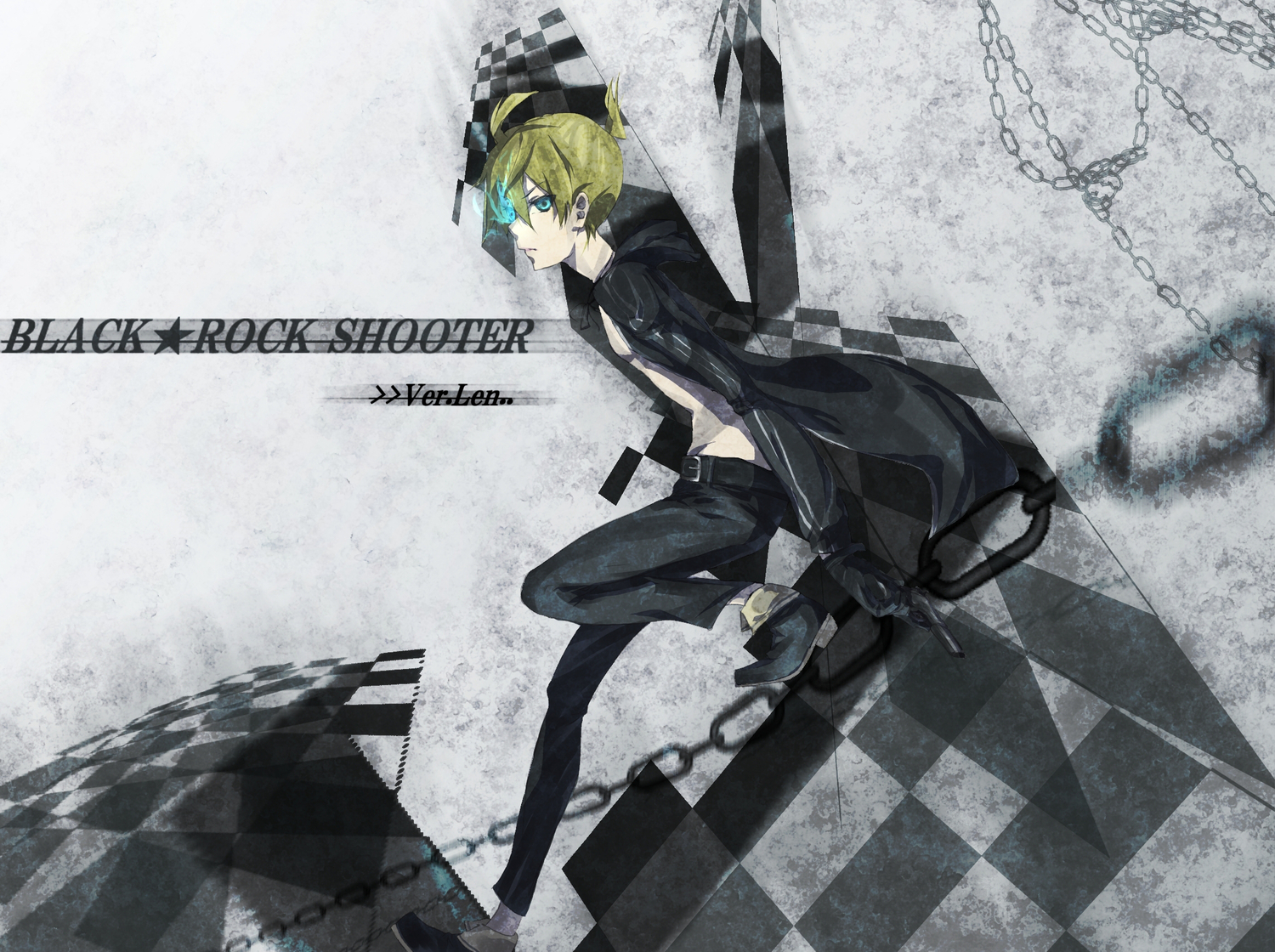 aliasing all_male black_rock_shooter cosplay crossover kagamine_len male takka vocaloid