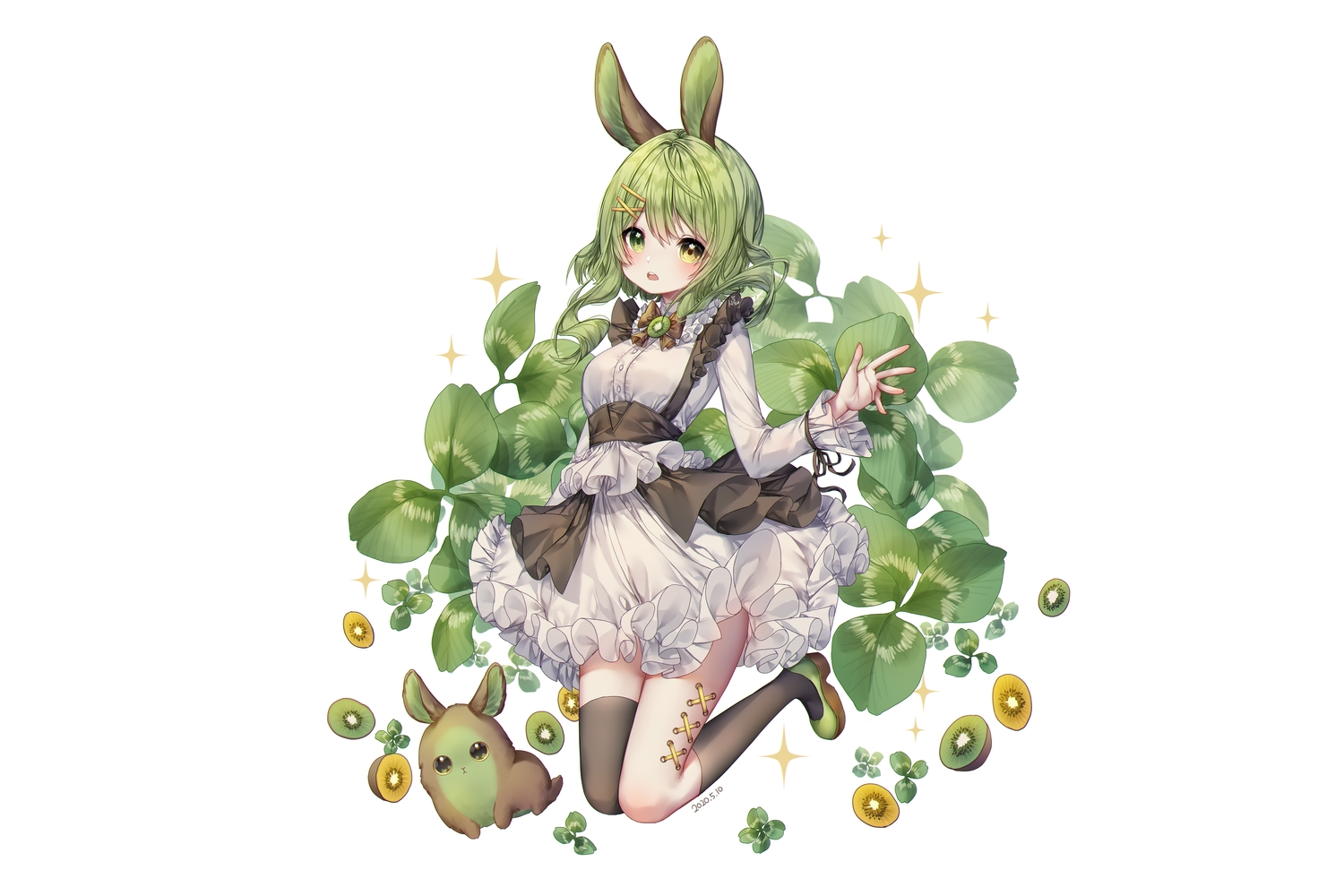 albinoraccoon animal animal_ears bicolored_eyes blush bow bunny_ears bunnygirl dress food fruit goth-loli green_hair lolita_fashion original rabbit short_hair thighhighs white