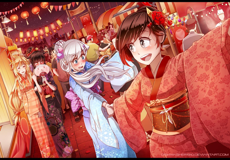 black_hair blake_belladonna blush dishwasher1910 fan festival group japanese_clothes kimono night ruby_rose rwby watermark weiss_schnee white_hair yang_xiao_long