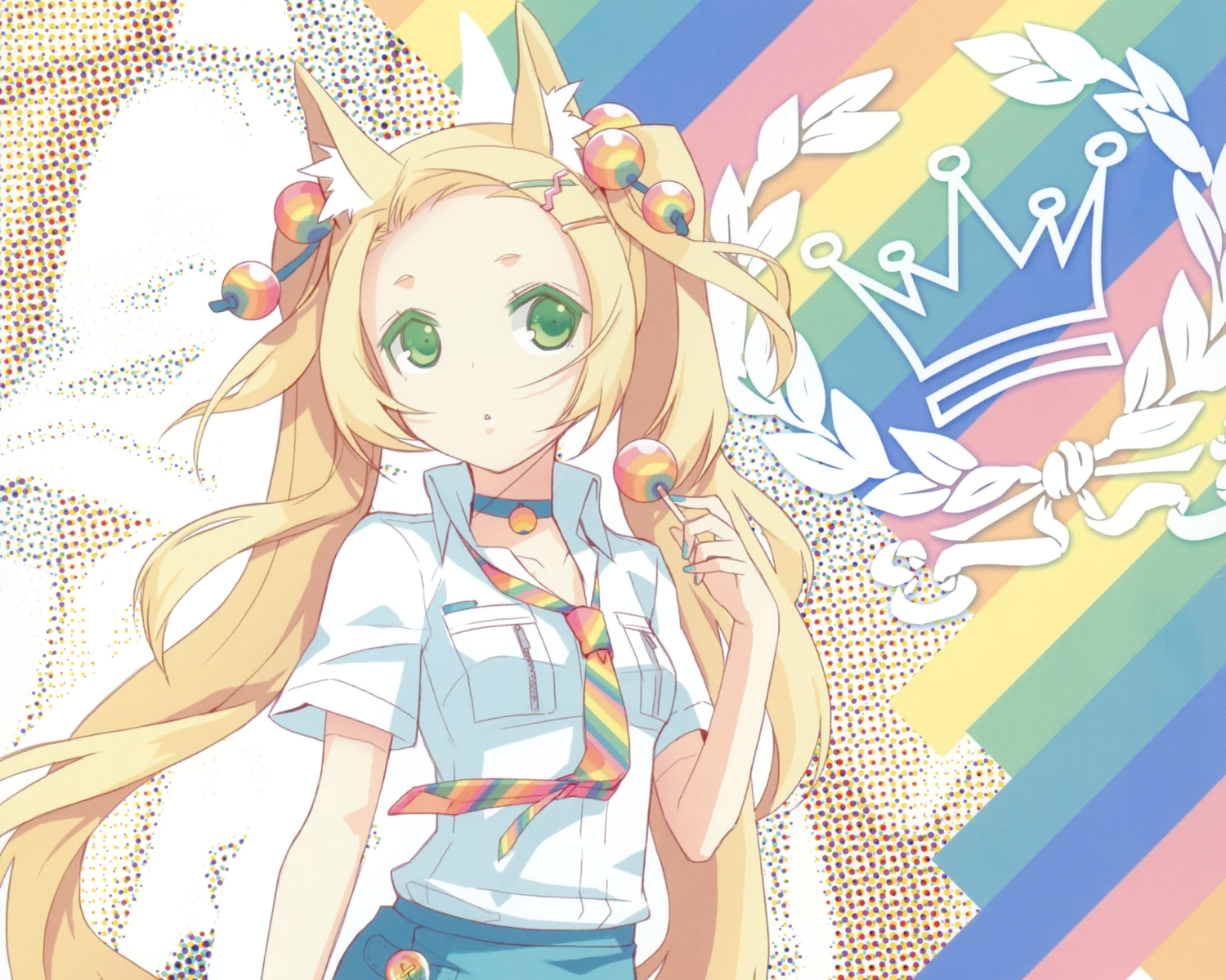 animal_ears blonde_hair candy catgirl choker cropped feathers green_eyes h2so4 island_of_horizon lollipop original rainbow scan tie twintails