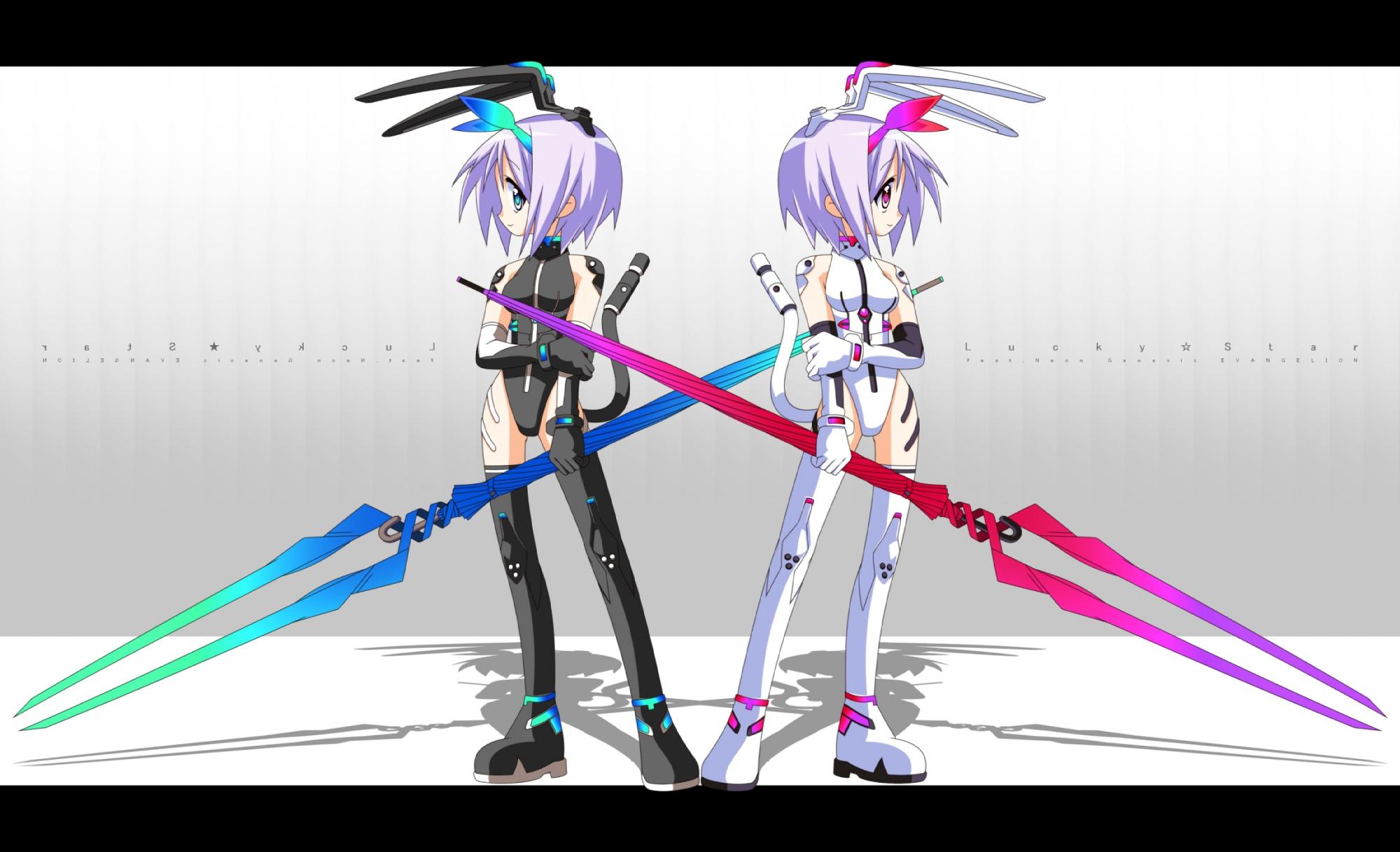 bodysuit hiiragi_tsukasa lucky_star neon_genesis_evangelion purple_hair skintight spear weapon