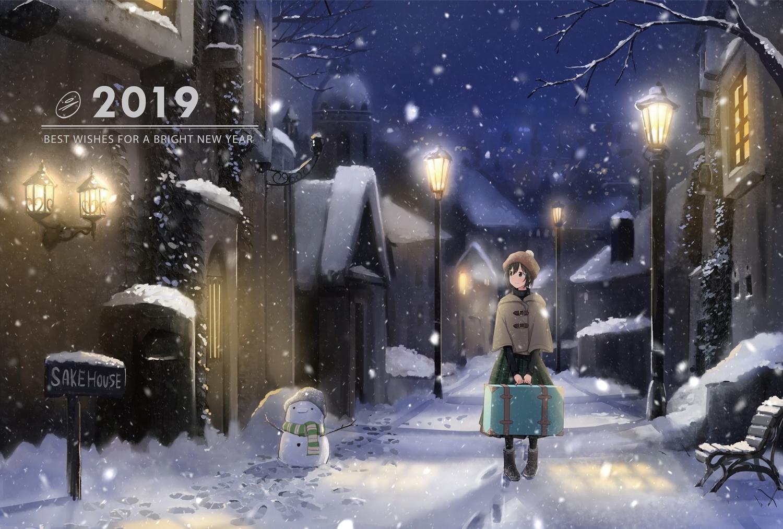 black_eyes black_hair boots building city hat original sakeharasu scarf short_hair snow snowman winter
