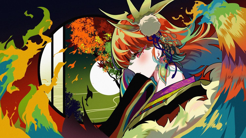 autumn berryverrine fire headdress hololive japanese_clothes kimono moon polychromatic red_eyes red_hair takanashi_kiara tree