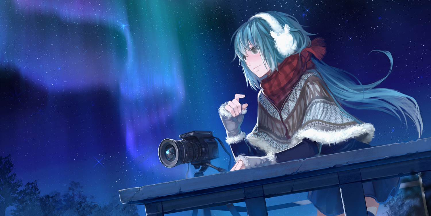 camera gloves hatsune_miku long_hair night scarf silverwing stars vocaloid winter