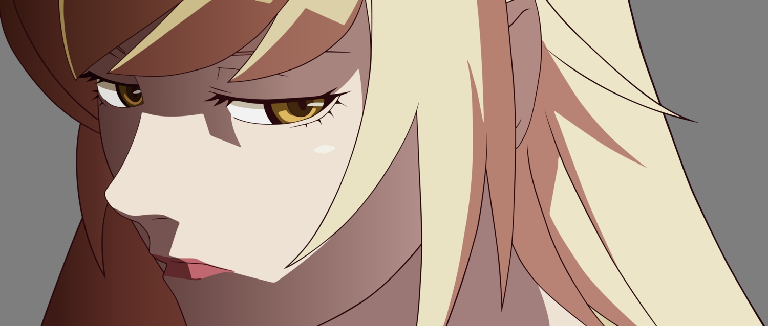 blonde_hair close kissshot_acerolaorion_heartunderblade kizumonogatari monogatari_(series) oshino_shinobu transparent vector yellow_eyes