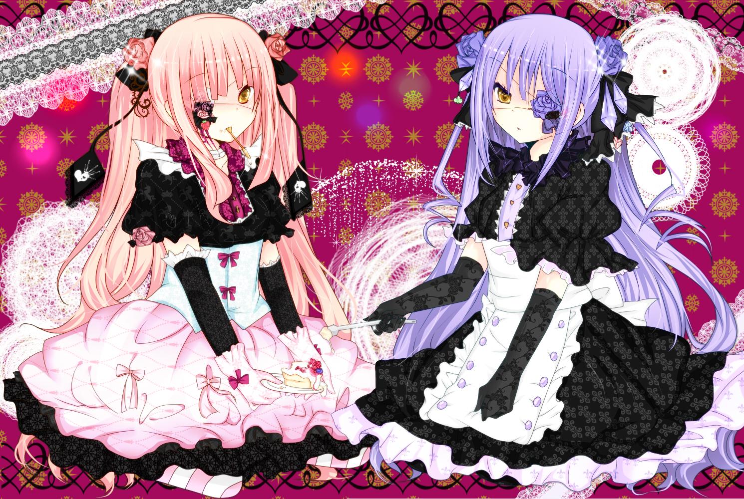2girls aliasing barasuishou dress elbow_gloves eyepatch food gloves goth-loli kirakishou lolita_fashion rozen_maiden sakuragi_yuzuki