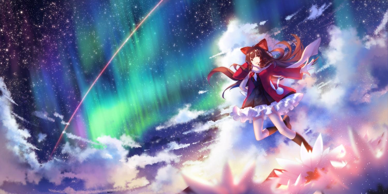 bow brown_eyes brown_hair clouds hakurei_reimu kneehighs long_hair lyrah777 scarf skirt sky stars touhou