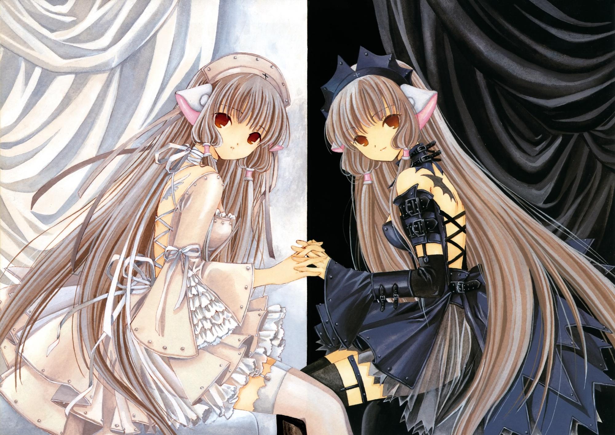 2girls chii chobits clamp freya goth-loli lolita_fashion scan