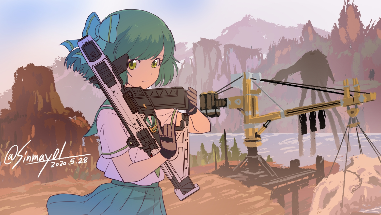apex_legends bow gloves green_eyes green_hair gun industrial scenic school_uniform shinmai_(kyata) short_hair signed skirt sky weapon