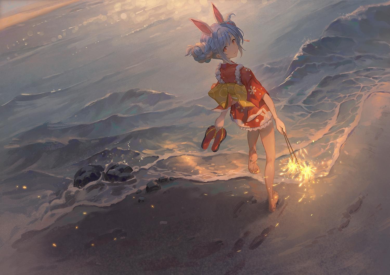 animal_ears beach brown_eyes bunny_ears bunnygirl fireworks gawain_(artist) gray_hair hololive japanese_clothes short_hair usada_pekora water yukata