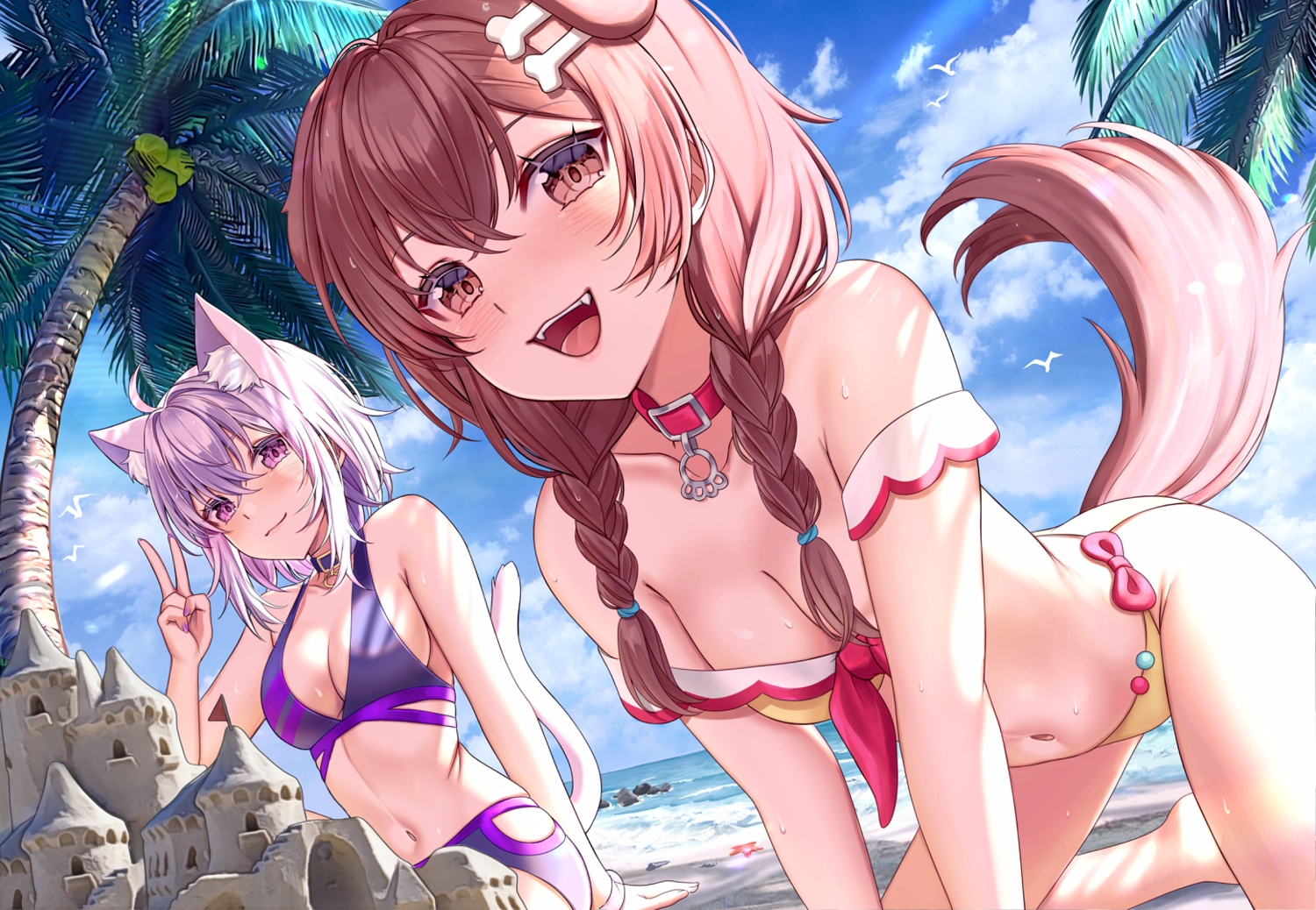 aliasing animal_ears beach bikini breasts brown_eyes brown_hair catgirl cat_smile cleavage close clouds collar doggirl fang hololive inugami_korone long_hair nekomata_okayu purple_eyes purple_hair saruei sky swimsuit tail tree twintails water
