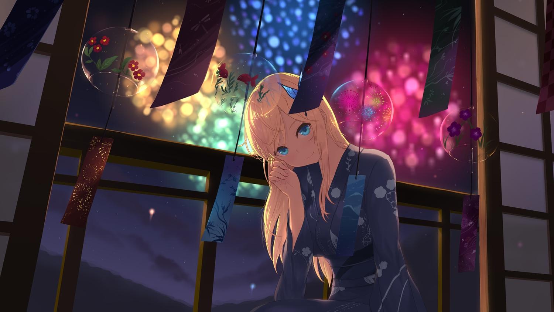 aqua_eyes blonde_hair boku_wa_tomodachi_ga_sukunai cait fireworks japanese_clothes kashiwazaki_sena long_hair night sky stars summer yukata