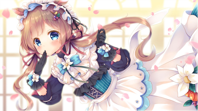 animal_ears aqua_eyes blush brown_hair dress eli_conifer gloves headdress lolita_fashion long_hair nijisanji petals ribbons twintails yorarry