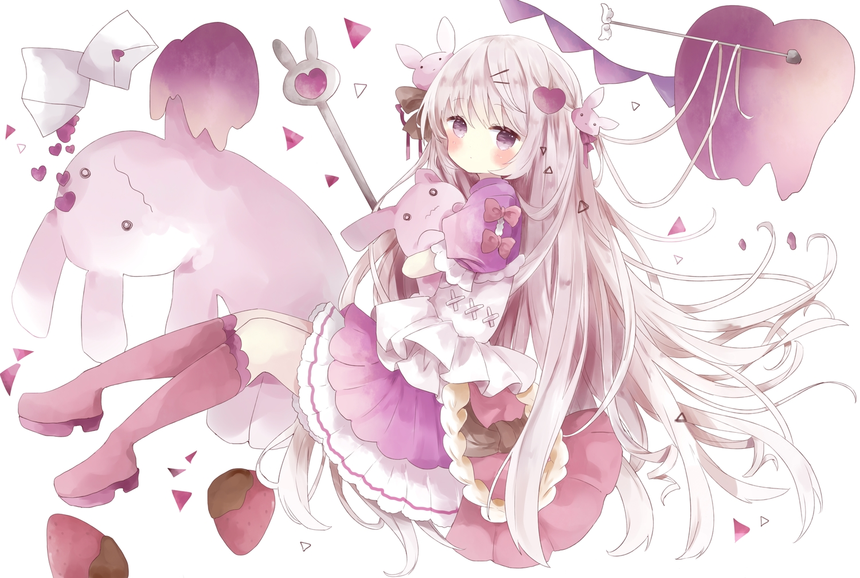 blush bunny dress food fruit gray_hair lolita_fashion long_hair original paper polychromatic purple_eyes strawberry tsukiyo_(skymint)