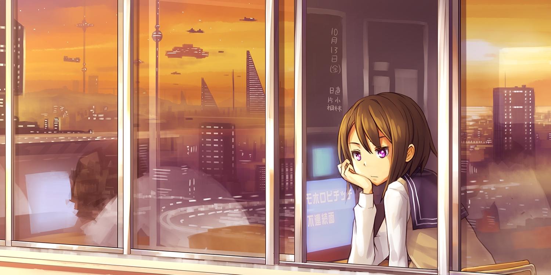 aircraft brown_hair building city kurou_(crow) original purple_eyes reflection school_uniform short_hair sunset
