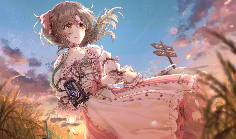 camera clouds dress idolmaster idolmaster_cinderella_girls ponytail rain_(regen) sky takamori_aiko