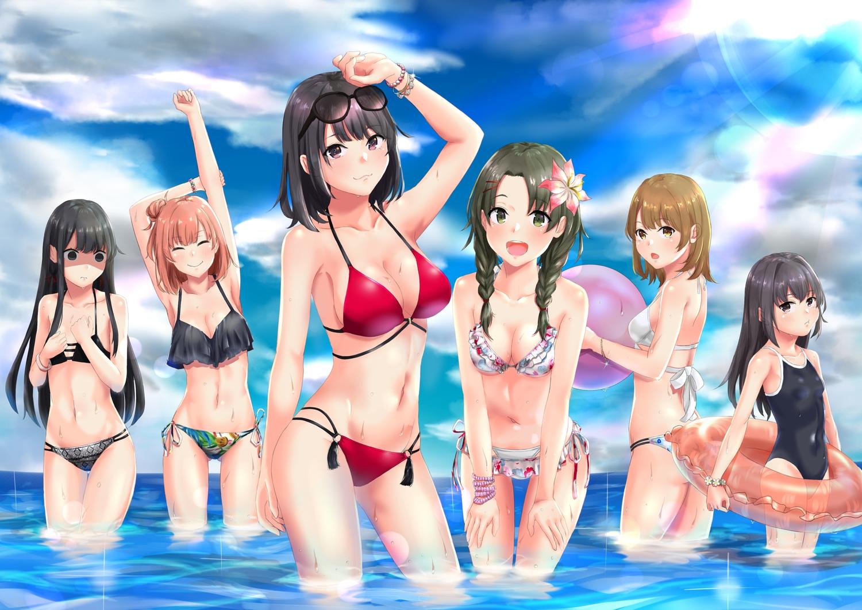bikini breast_hold breasts cleavage glasses group isshiki_iroha loli meri-san school_swimsuit shiromeguri_meguri swim_ring swimsuit tsurumi_rumi wet yahari_ore_no_seishun_love_come_wa_machigatteiru. yuigahama_yui yukinoshita_haruno yukinoshita_yukino