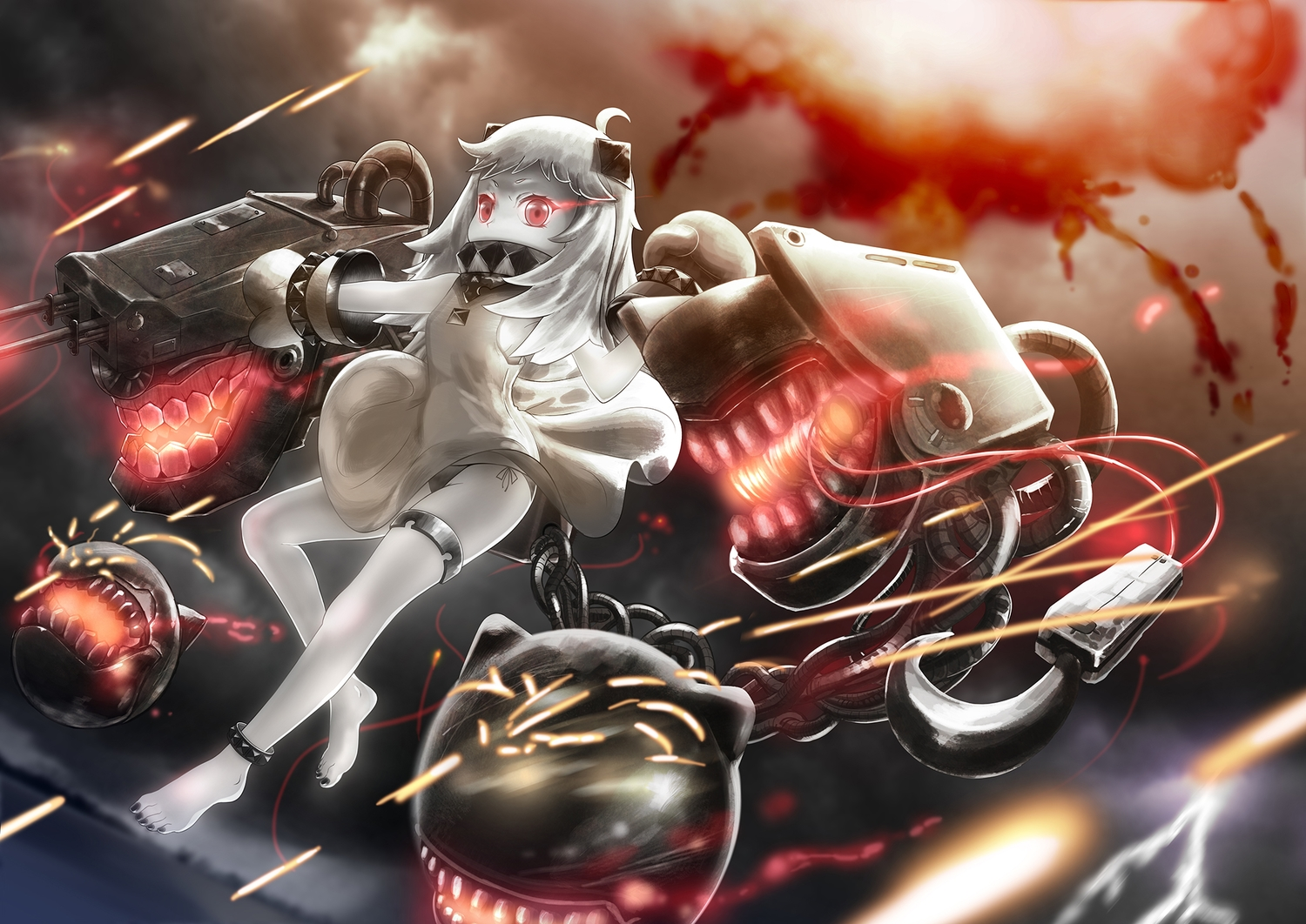 anthropomorphism barefoot brianchan.t.w chain dress garter gray_hair kantai_collection loli northern_ocean_hime panties red_eyes ribbons underwear