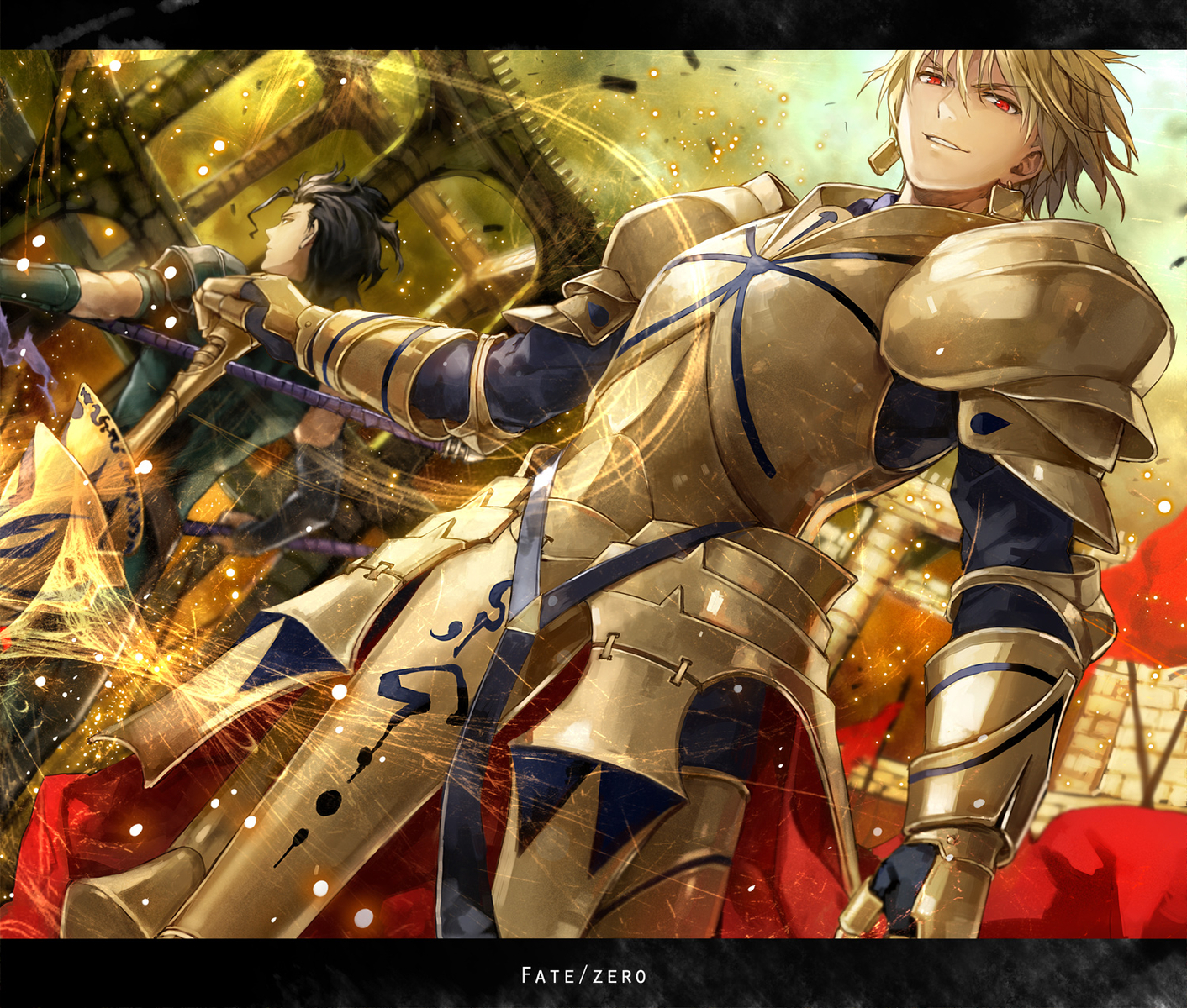 armor blonde_hair diarmuid_ua_duibhne_(fate) fate_(series) fate/stay_night fate/zero gilgamesh komecchi red_eyes spear weapon
