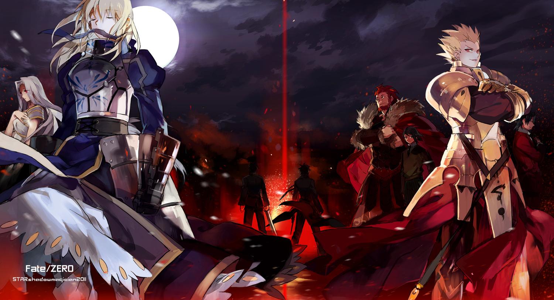 alexander_(fate) armor artoria_pendragon_(all) emiya_kiritsugu fate_(series) fate/stay_night fate/zero gilgamesh irisviel_von_einzbern kotomine_kirei male moon night saber starshadowmagician sword tohsaka_tokiomi waver_velvet weapon