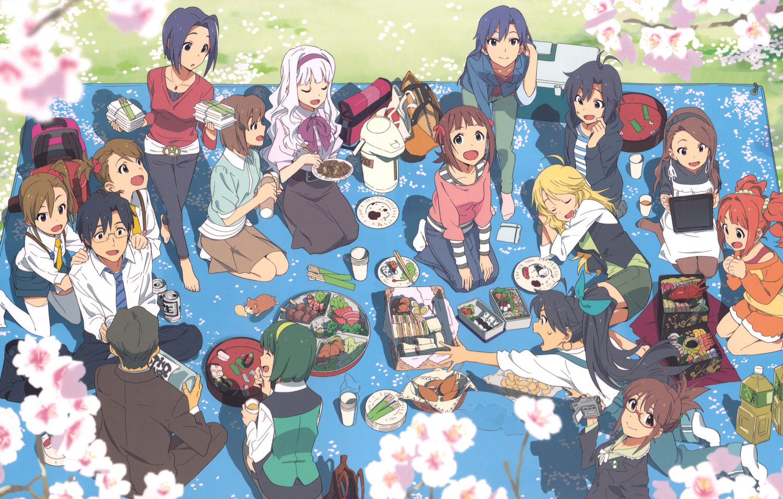 akizuki_ritsuko amami_haruka cherry_blossoms drink flowers food futami_ami futami_mami ganaha_hibiki group hagiwara_yukiho hoshii_miki idolmaster kikuchi_makoto kisaragi_chihaya male minase_iori miura_azusa nishigori_atsushi otonashi_kotori producer_(idolmaster) shijou_takane spring twins