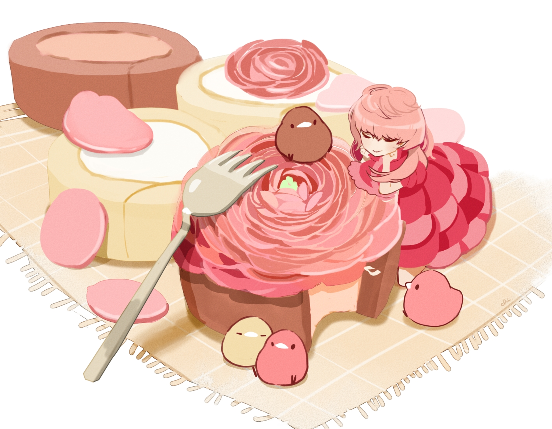 animal bird cake chai_(artist) dress food original pink_hair polychromatic signed