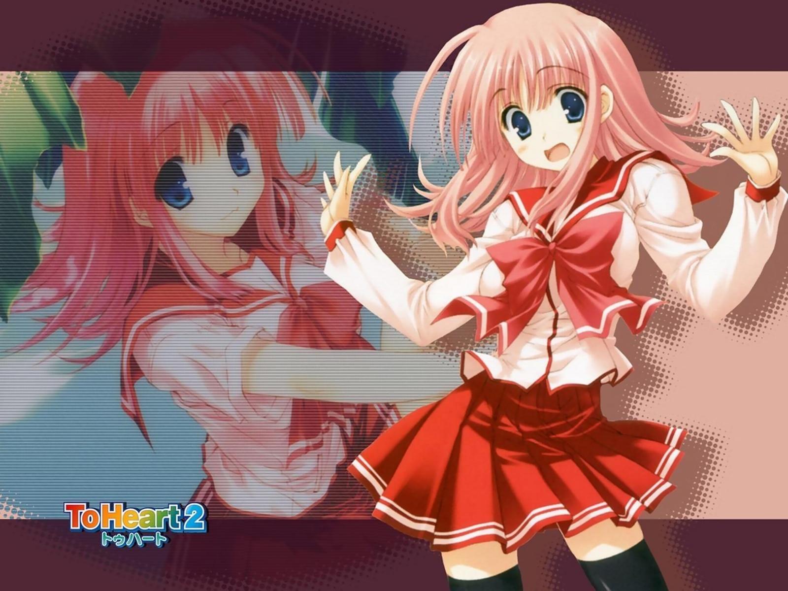 aquaplus kouno_harumi leaf mitsumi_misato pink_hair school_uniform thighhighs to_heart to_heart_2