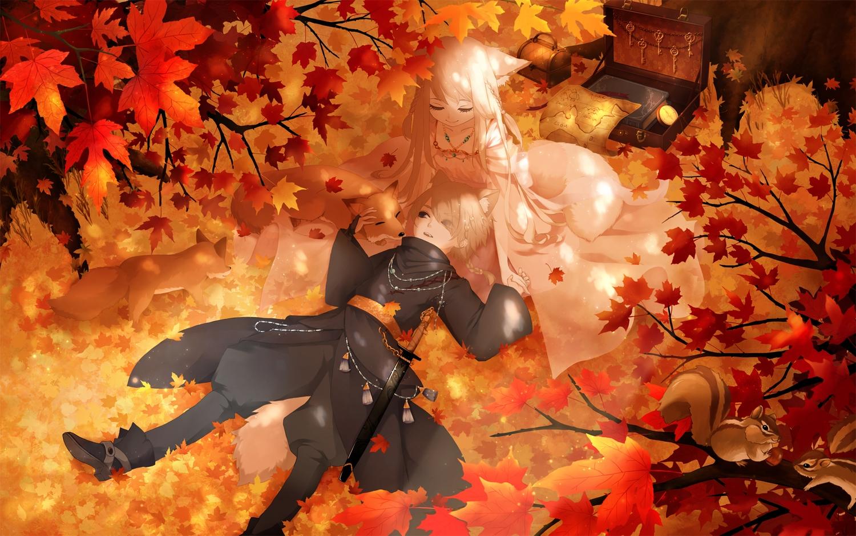 animal animal_ears autumn black_eyes blonde_hair book braids fox foxgirl leaves long_hair male mimi_(tetoru09) original short_hair sword tail weapon