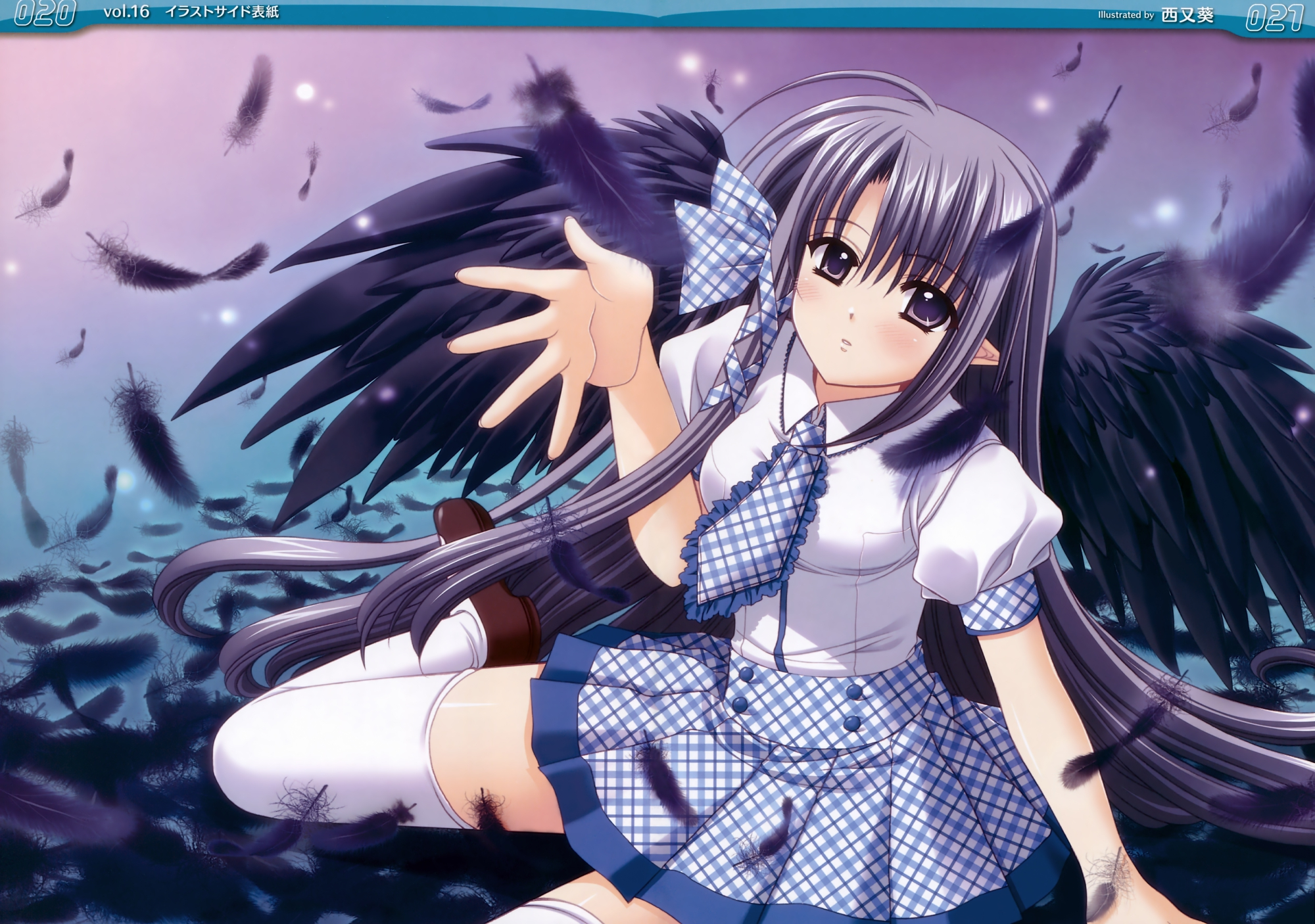 freyjalt_fall judgement_chime nishimata_aoi pointed_ears thighhighs tie wings