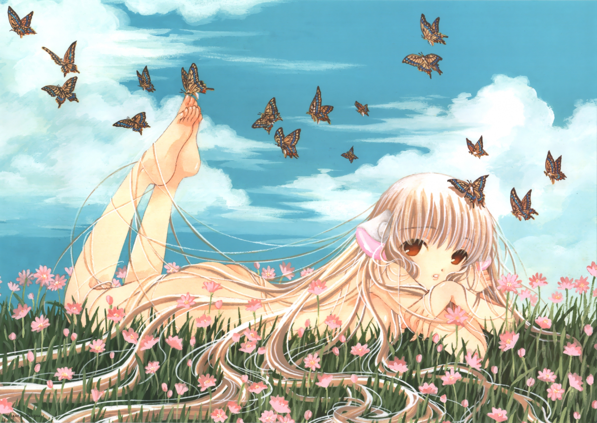 barefoot blonde_hair butterfly chii chobits clamp clouds flowers long_hair orange_eyes sky