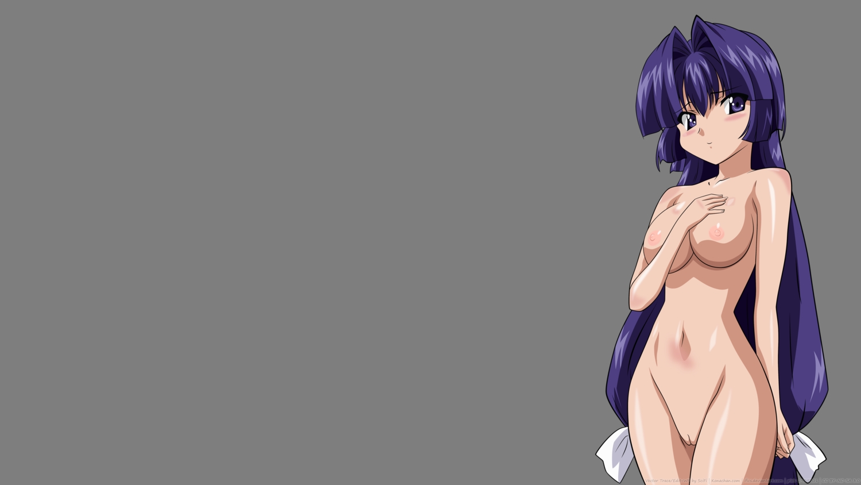 blue_eyes breasts kamishiro_rin long_hair maburaho nipples nude purple_hair transparent uncensored vector