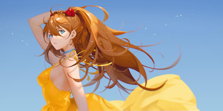 aqua_eyes breasts choker close dress long_hair neon_genesis_evangelion no_bra orange_hair ribbons sky soryu_asuka_langley summer_dress tidsean twintails
