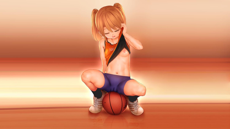 basketball bike_shorts blush breasts brown_hair cameltoe endou_hiroto loli nipples nipple_slip original shorts sport spread_legs third-party_edit