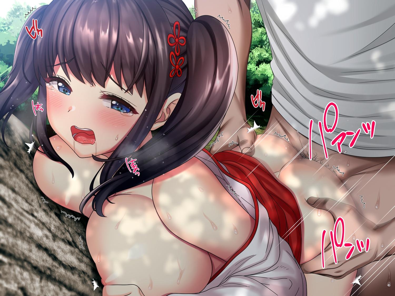 ass brown_hair diletta japanese_clothes long_hair miko nipples no_bra nopan open_shirt original sex skirt_lift twintails yuzuki_tsuzuru