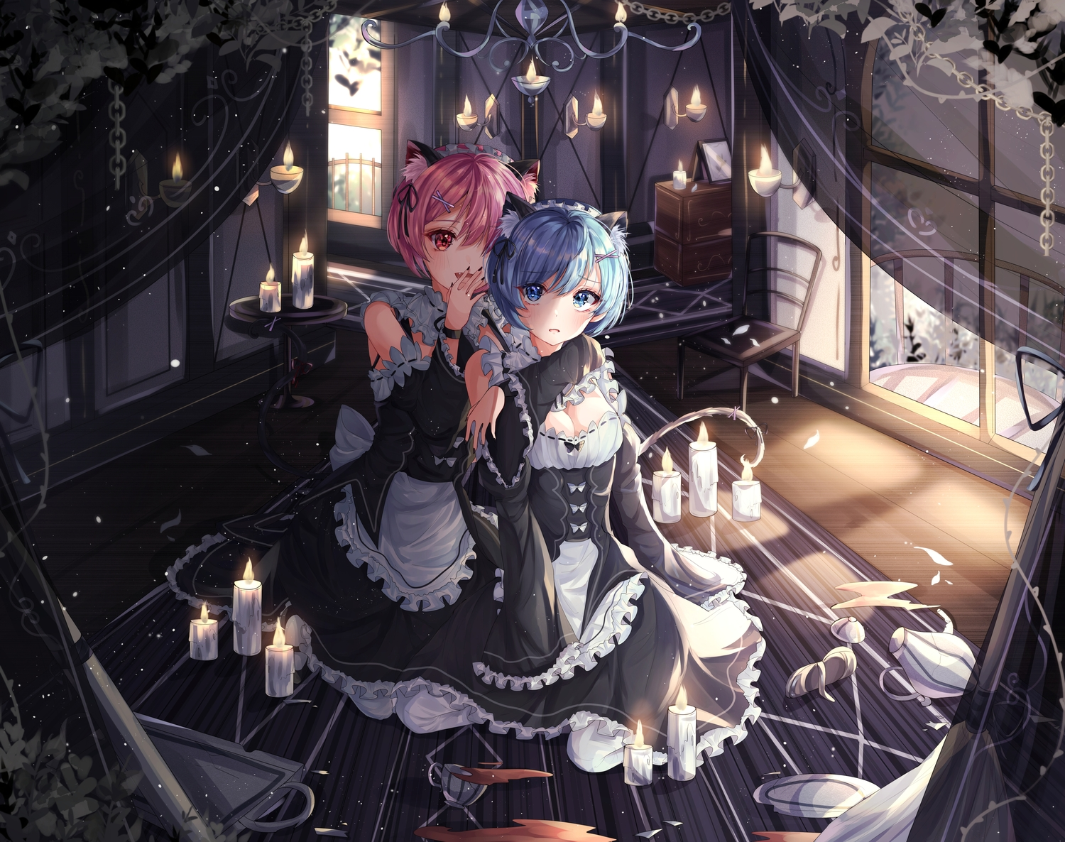 2girls animal_ears aqua_eyes blue_eyes blue_hair blush catgirl headband maid purple_hair ram_(re:zero) rem_(re:zero) re:zero_kara_hajimeru_isekai_seikatsu short_hair tail twins wine_(2148_wine)