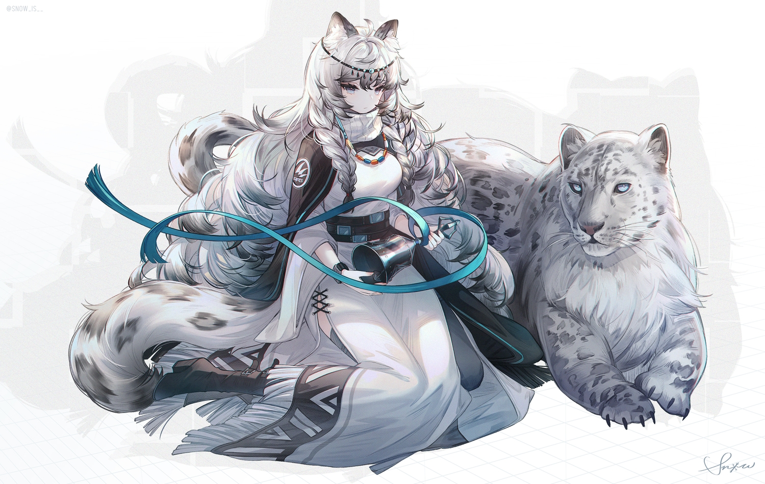 animal animal_ears arknights bell blue_eyes boots braids cape catgirl dress gray_hair headdress long_hair necklace pramanix_(arknights) ribbons signed snow_is tail watermark
