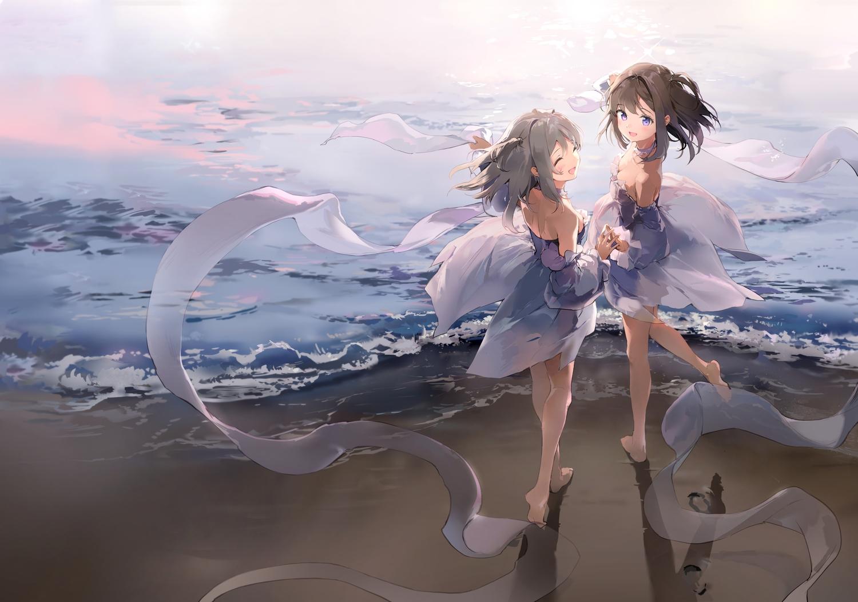 2girls anmi barefoot beach bicolored_eyes blush brown_hair dress gray_hair original purple_eyes water