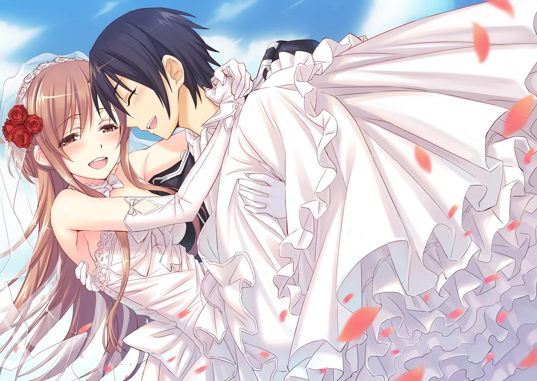 black_hair blush brown_eyes brown_hair elbow_gloves flowers gloves kirigaya_kazuto long_hair matsuryuu petals rose short_hair sword_art_online wedding wedding_attire yuuki_asuna