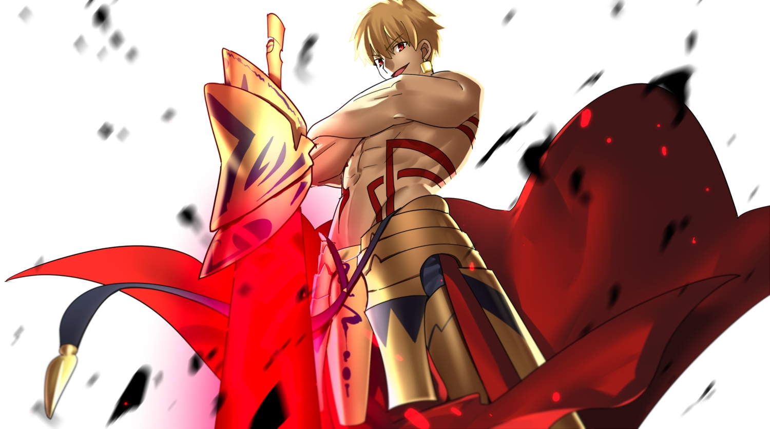 all_male armor blonde_hair fate_(series) fate/stay_night gilgamesh magic male red_eyes short_hair sword tagme_(artist) tattoo topless weapon
