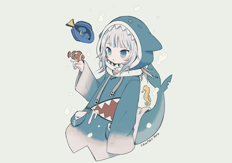 aliasing animal ayu_(mog) blue_eyes bubbles fish gawr_gura gray gray_hair hololive hoodie short_hair signed sketch tail underwater water