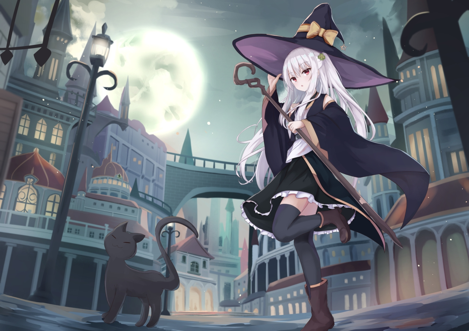 animal building cat city hat moon original red_eyes staff touhourh twintails white_hair witch witch_hat
