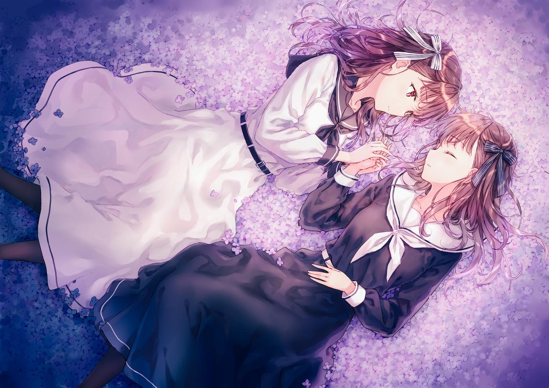 2girls bow brown_hair dress flowers hiten_goane_ryu long_hair original red_eyes school_uniform