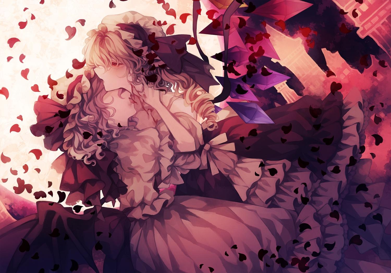 2girls blonde_hair blood flandre_scarlet hat petals polychromatic purple_hair remilia_scarlet short_hair shoujo_ai touhou vampire wings wiriam07