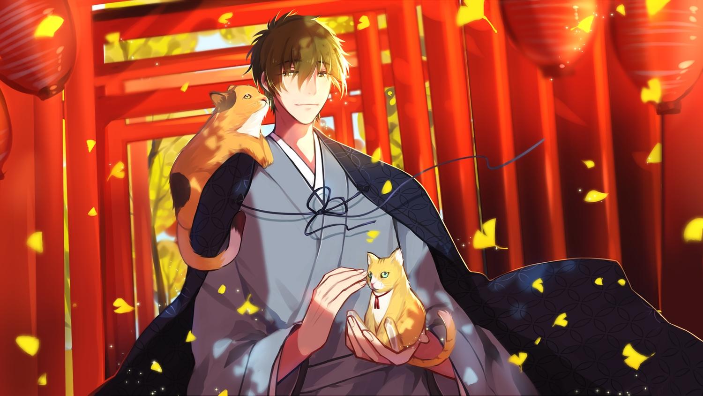 all_male animal autumn cat free! japanese_clothes leaves male tachibana_makoto torii yuzhi