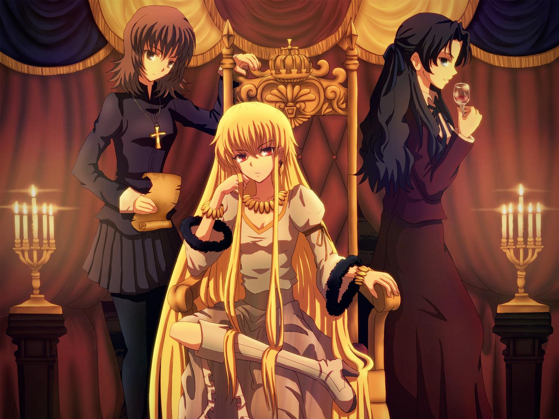 daffobird fate_(series) fate/stay_night fate/zero genderswap gilgamesh kotomine_kirei tohsaka_tokiomi