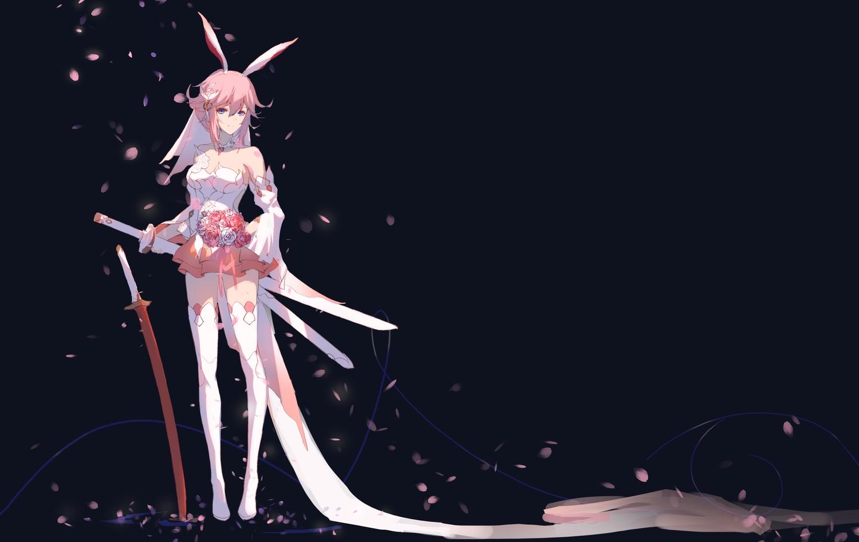animal_ears aqua_eyes dress flowers honkai_impact katana petals pink_hair rose sword taichi_(yirkorn) weapon wedding_attire yae_sakura_(benghuai_xueyuan)