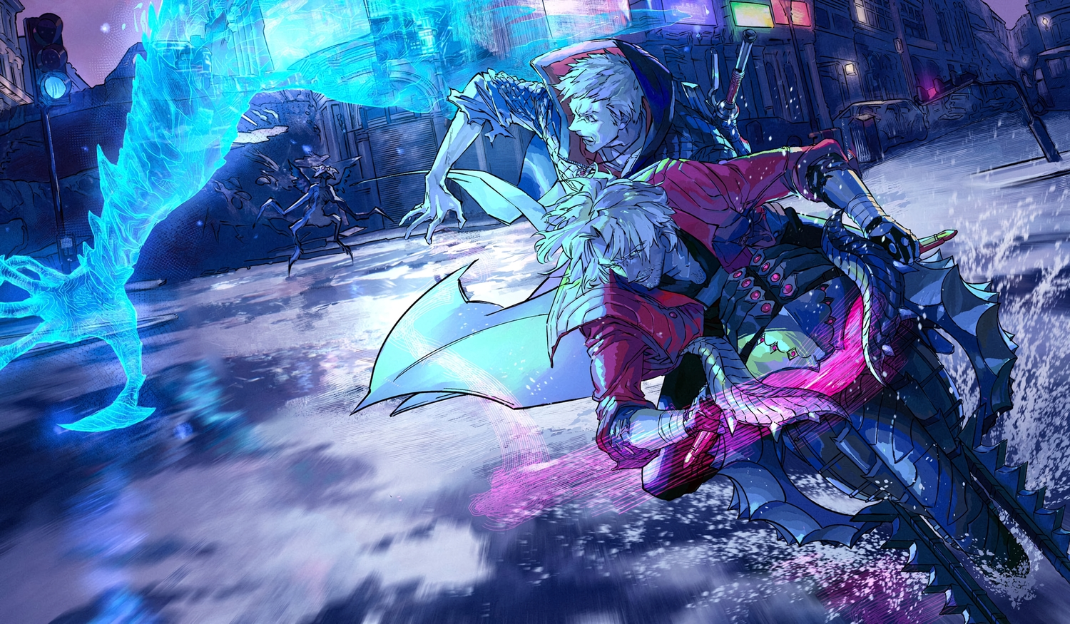 all_male bandage building city dante devil_may_cry gloves johngaramond male motorcycle necklace nero polychromatic short_hair sword water weapon white_hair wristwear