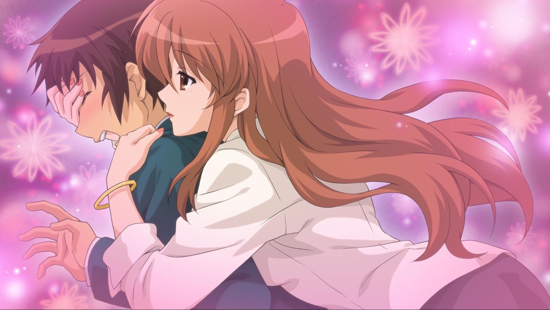 asahina_mikuru brown_eyes brown_hair game_cg hug kyon long_hair male orange_hair school_uniform short_hair suzumiya_haruhi_no_tsuisou suzumiya_haruhi_no_yuutsu