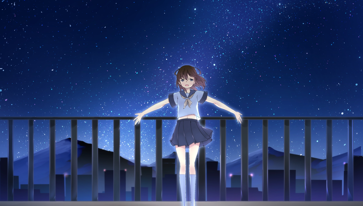night original sakurea school_uniform stars